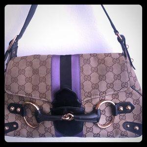 Gucci striped monogram striped bag w horse-bit